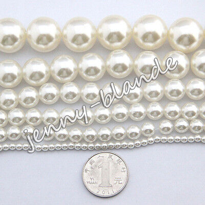 Wholesale White Glass Pearl Gemstone Spacer Loose Beads Finding 4/6/8/10/12mm