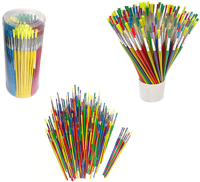 Tub of 144 Coloured Paint Brushes Childrens Craft Painting School Pack 598144