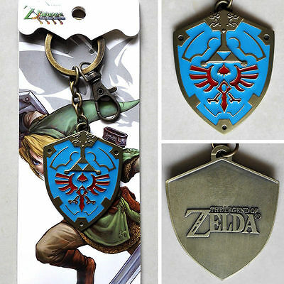 New Hot Games The Legend of Zelda Logo The shield Blue 6cm Metal Keychain Ring