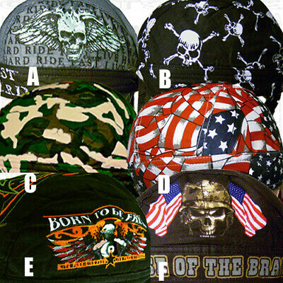 6pc Assorted Cotton Skull Cap Set Do Rag Biker Head Wrap Bandana GFSKULL3