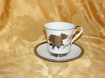 VINTAGE SAJI FINE CHINA CUP & SAUCER 25th ANNIVERSARY GIFT SILVER ROSES JAPAN