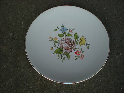 """Vintage Edwin Knowles Brown Rose Floral 6 1/4"""" Dessert/Bread Plate  Flowers USA"""