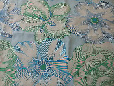 Vintage Retro French Large Sketchbook Floral Fabric ~ Blue Green ~ BTY