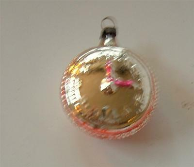 Antique Mercury Glass Xmas Ornament Germany Clock Pocket Watch Pink Floral