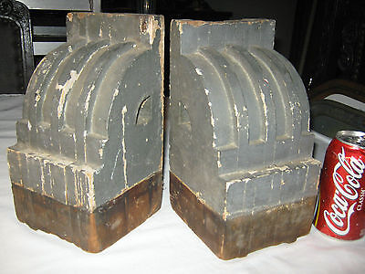 2 Antique Architectural Salvage Wood Block Corbel Industrial Art Statue Bookends