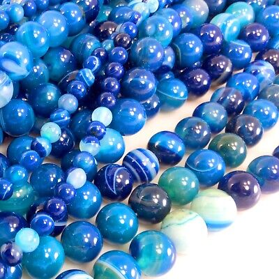 """Natural Blue Stripe Agate Round/Faceted Round Beads 15"""" 4 6 8 10 12mm Free shipp"""