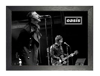Oasis 6 English Rock Band Poster On Stage Photo Gallagher Britpop Music Print