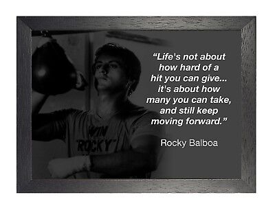 Rocky Balboa 14 Sylvester Stallone Black White Motivational Film Quote Poster