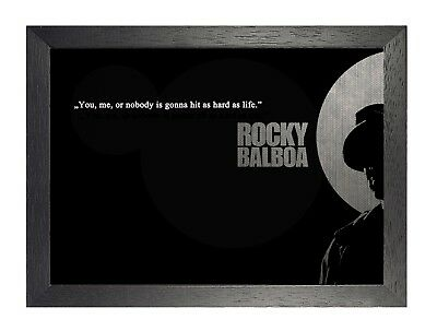 Rocky Balboa - Hit Hard -Sylvester Stallone Poster Motivation Quote Black White