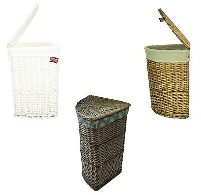 Lidded Wicker Corner Linen Laundry Bin Storage Basket with Cotton Liner