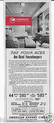 American Export Lines Four Aces First Class Suites 1938 Good Housekeepers Ad