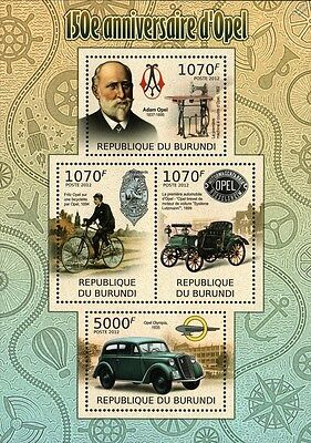 ADAM OPEL AG (150th Anniversary) Admiral Cars / Bicycle Stamp Sheet (2012)