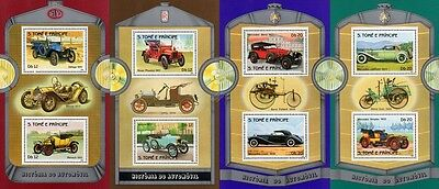 1983 St Thomas & Prince Car Stamp Sheets (Mercedes-Benz/Rover/Morris/Renault)