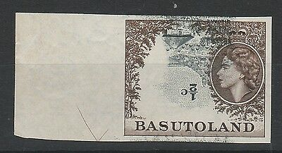 Basutoland 1954 Qeii Pictorial 1/2C Error Imperf Inverted Centre Mnh ** Cert