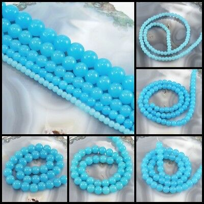 """Aqua Blue Natural Jade Round Beads 15"""" 4mm, 6mm, 8mm,10mm, 12mm pick your size"""