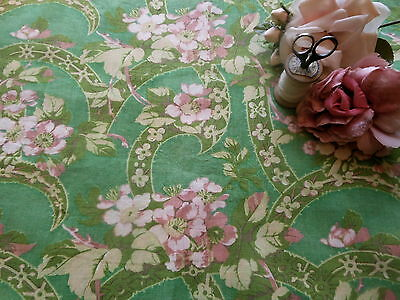 Antique Floral Blossom Cotton Fabric ~ apple green blush pink citrine