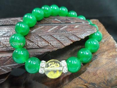 a Feng Shui Jewelry MANTRA Green Jade Bead Protection Buddha Monk Lucky Bracelet