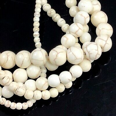 "Natural White Magnesite Turquoise Spacer Round Bead 15"" 4,6,8,10,12mm Pick size"