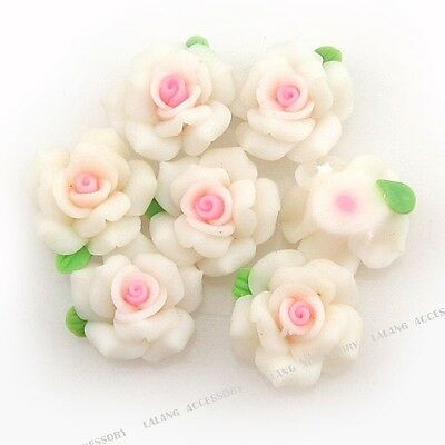 20x Hot Sale White Flower Green Leaves Fimo Polymer Clay Beads Fit Jewelry DIY J