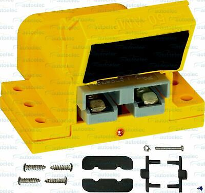 50Amp 50A Anderson Connector Plug Cover  External Mounting Bracket Kit Yellow