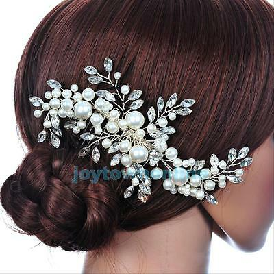 Wedding Bridal Hair Comb Crystal Pearl Headpiece Side Hair Pin Clip Accessory