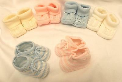 New Baby Boys Girls Unisex Knitted/satin Ribon Booties Bootees 4 Colours