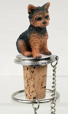 Yorkshire Terrier Yorkie Sport Dog Hand Painted Figurine Wine Bottle Stopper