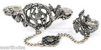 DRAGON SLAVE BRACELET WITH RING Wicca Pagan Witch Goth