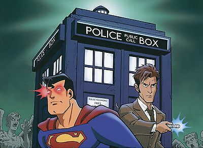 Superman VS Dr. Who Very Nice Signed Large 12x18