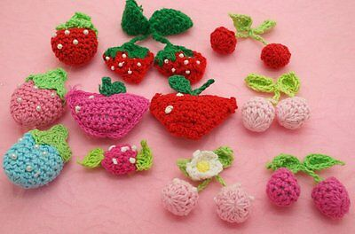 Mixed Crochet Strawberry/Cherry/Apple/Candy Appliques/Craft