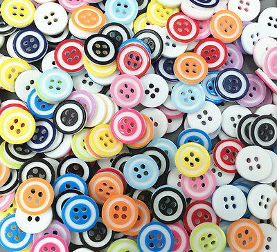 DIY 100 pcs Mixed color Round 4-Holes Resin Sewing Buttons Fit Sewing 12mm