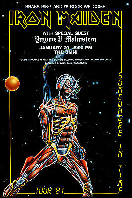 Iron Maiden  at The OMNI in Atlanta * Somewhere in Time * Concert Poster 1987