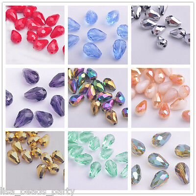 HOT 10pcs 12x8mm Teardrop Faceted Crystal Glass Jewelry Findings Loose Beads