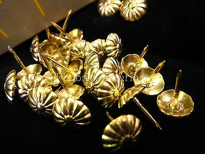 500 BRASS DAISY upholstery nails - Brass 12mm dome furniture stud pin 13mm tacks