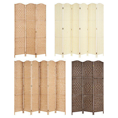 Solid Weave Hand Made Wicker Folding Room Divider Separator/Privacy Screen/Panel