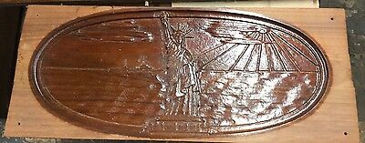Antique Walnut Carved Statue Of Liberty Salvage Board
