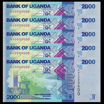Lot 5 PCS, Uganda 2000 (2,000) Shillings, 2013-2015, P-50, UNC