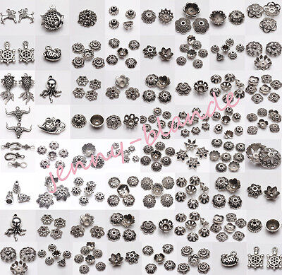 Wholesale Tibet Silver Loose Spacer Bead Caps Charm  Pendant Jewelry Finding DIY
