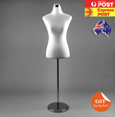 New WHITE Female Dress Form Mannequin Torso Cover Chrome Stand PWM-1