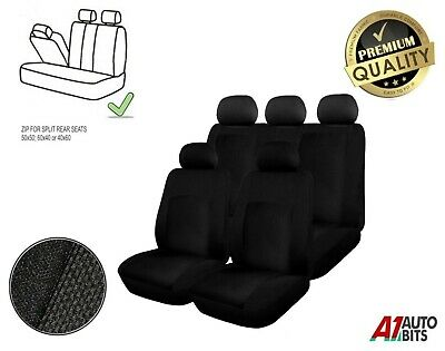 Black Universal Full Car Seat Covers Set 3 Zip Pet Dog Protectors Washable Fit