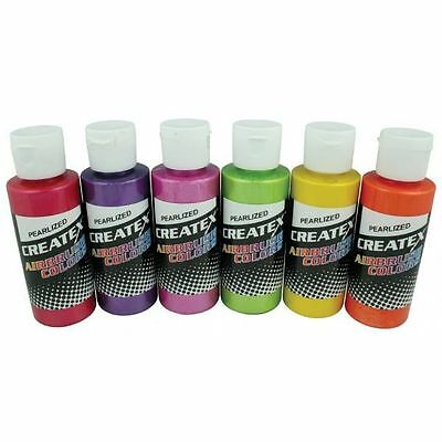 CREATEX Airbrush Paint Set 6 pc PEARLIZED SAMPLER Colors