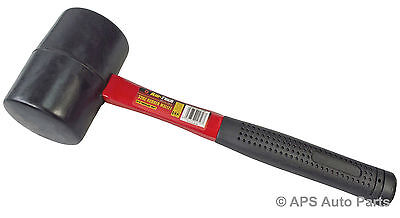 32 OZ Rubber Hammer Mallet Fibreglass Shaft Handle With Grip Hardened New