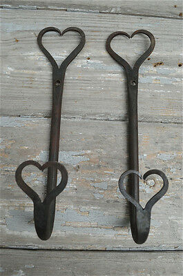 Pair Beautiful Large Shaker Double Heart Wrought Iron Coat Hooks Wall Hook Dhh1