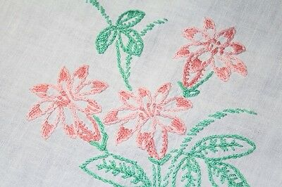 Pink Easter Lily Bouquets & Heart Bobbin Lace Vtg German Large Spring Tablecloth