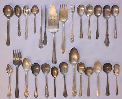 Lot 25pcs VTG Antique Flatware Serving Pieces Mixed Silverplate Rogers Meriden