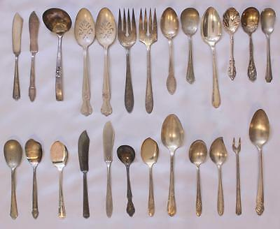 Lot 27pcs VTG Antique Mixed Flatware Serving Pieces Silverplate Rogers Community