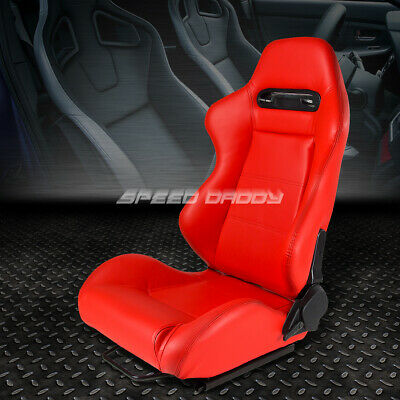 Type-R Full Reclinable Pvc Leather Racing Seat+Mount Slider Red Driver Left Side