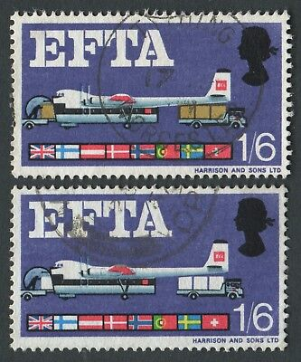 SG.716c 1967 EFTA 1s6d, VAR 'Brown omitted', Fine Used with normal to compare
