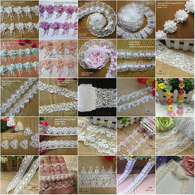 Vintage Polyester Cotton Lace Edge Trim Wedding Ribbon Applique DIY Sewing Craft