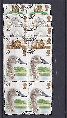 GB 1993 BIRDS SWANS Stamps Set 5v SUPERB Used Blocks 4 SG1639-1643 REF:W549